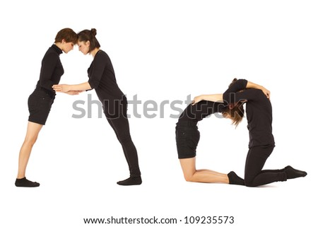 Font A formed by humans bodies - stock photo