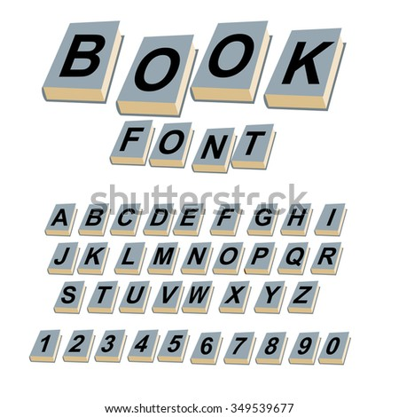 Font book. Alphabet on covers of books.  ABCs of log on vintage hardcover books. Old books with letters. Set of alphabetic characters and digits creative for  text. - stock photo