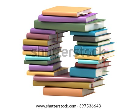 font design of the books 3D rendering - stock photo