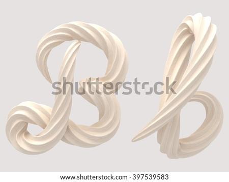 font design of the white cream 3d rendering - stock photo