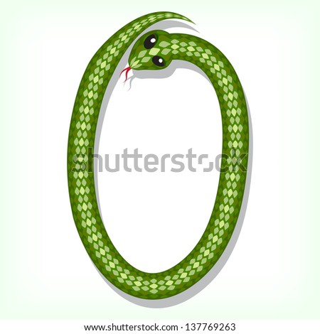 Font made from green snake. Digit 0. Raster version. Vector is also available in my gallery - stock photo
