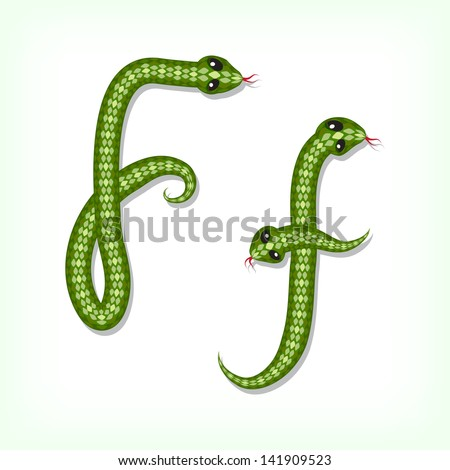 Font made from green snake. Letter F. Raster version. Vector is also available in my gallery - stock photo