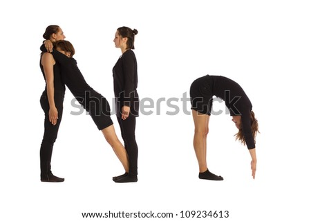 Font N formed by humans bodies - stock photo