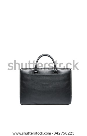 Font view of black men briefcase isolated over white - stock photo