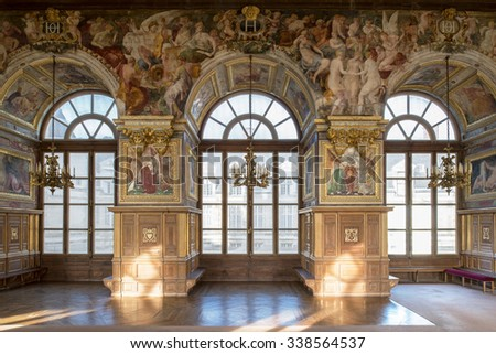 Fontainebleau, France - 16 August 2015 : Interior view of the Fontainebleau Palace ( Chateau de Fontainebleau ). It was added to the UNESCO list of World Heritage Sites. - stock photo