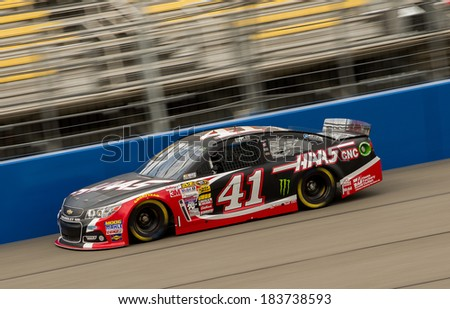 FONTANA, CA - MAR 22: Kurt Busch  at the Nascar Sprint Cup practice at Auto Club Speedway in Fontana, CA on March 22, 2014 - stock photo