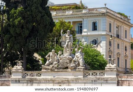 Fontana del Nettuno in Rome, Italy - stock photo