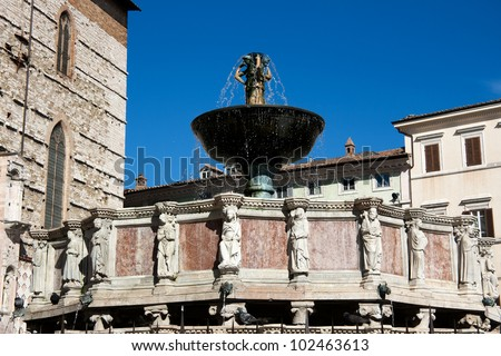 Fontana Maggiore in Perugia - Umbria - stock photo