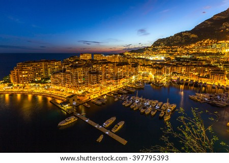 Fontvieille Monaco Harbor Monte carlo at night - stock photo
