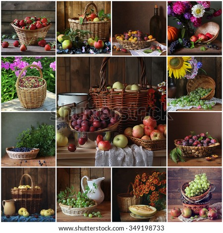 Food. A collage from still lifes with fruit and berries in a basket: strawberry, apple, plum, melon, gooseberry, bilberry, grapes. - stock photo