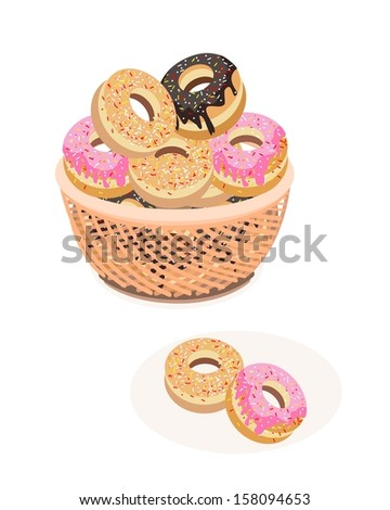 Food and Bakery, An Illustration Stack of Delicious Sweet Donuts with Chocolate, Strawberry and Vanilla Toppings in A Wicker Basket  - stock photo