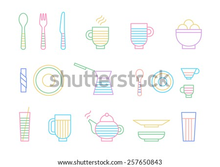 Food and dinnerware set of icons in line graphics. Spoon, fork, knife, cup, plate, glass, cezve, teapot hot beverage and ice-cream  - stock photo