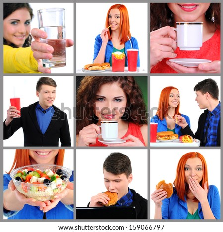 Food And Drink. Collage with people eating food and drinks - stock photo