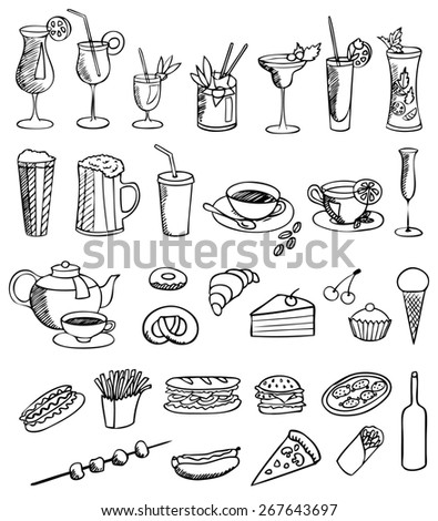 food and drink set - stock photo
