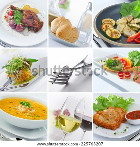 food and drink theme collage composed of  a few different images - stock photo