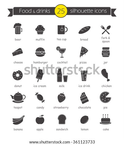 Food and drinks silhouette icons set. Restaurant and cafe menu items. Sweets and baking black symbols with names. Hot and cold beverages. Dairy products and fast food. Isolated raster illustrations - stock photo