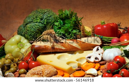 food and fresh vegetables - stock photo