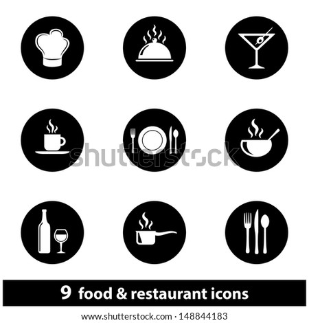 Food and Restaurant Icon Set. Raster version, vector also available. - stock photo