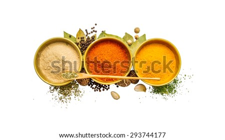Food and spices herb for cooking on white isolate with clipping path. - stock photo