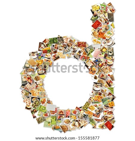 Food Art D Lowercase Shape Collage Abstract - stock photo