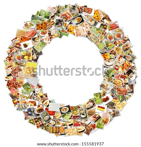 Food Art O Lowercase Shape Collage Abstract - stock photo