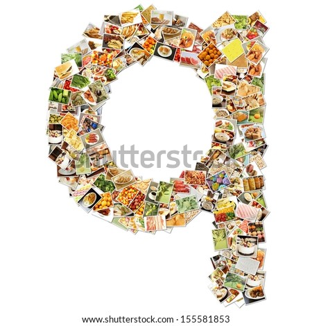 Food Art Q Lowercase Shape Collage Abstract - stock photo