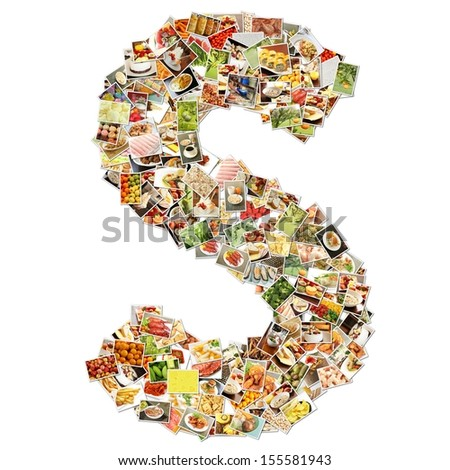 Food Art S Lowercase Shape Collage Abstract - stock photo