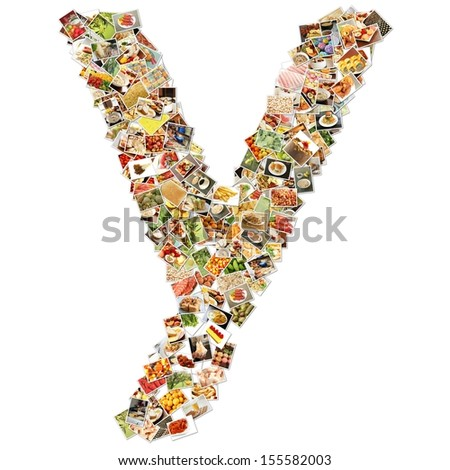 Food Art Y Lowercase Shape Collage Abstract - stock photo