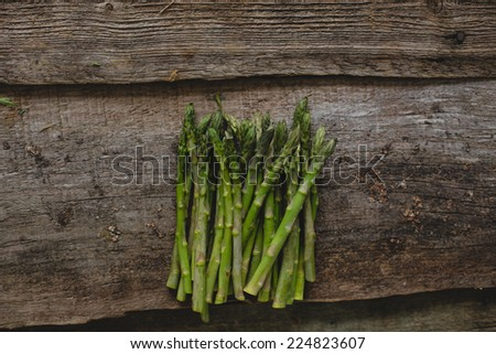 Food. Asparagus on a wooden table - stock photo