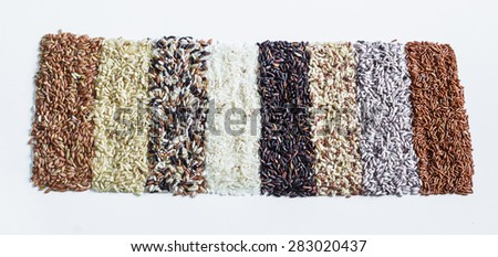 Food background with of rice variety . rice mixture. brown rice, black rice, white rice,red rice. - stock photo