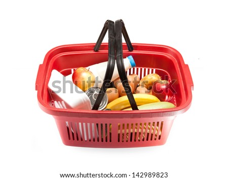 food basket with food inside - stock photo