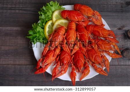 food boiled crayfish - stock photo