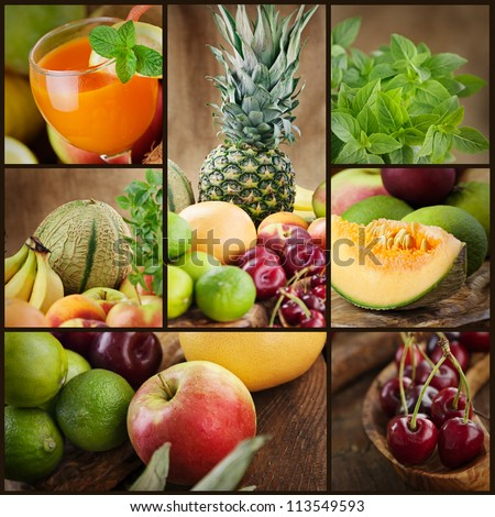 Food colage series. Collage of fresh fruit.  Fruit juice, pinneapple, apples, kiwi,cherry, lime, grapefruit, melon and other oriental fruit. - stock photo
