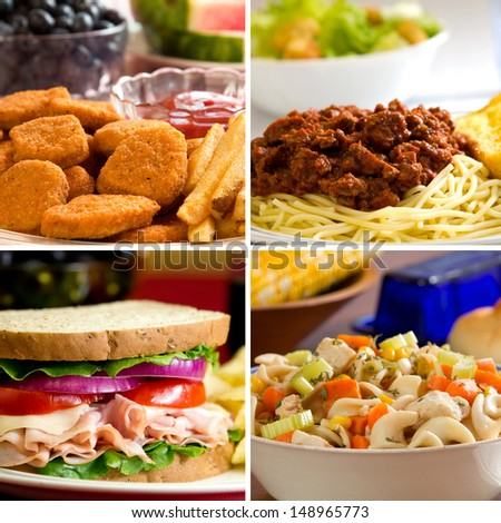 Food collage depicting chicken nuggets, spaghetti, turkey sandwich and chicken noodle soup. - stock photo