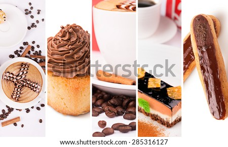 Food collage from photos of coffee and cakes with cream - stock photo