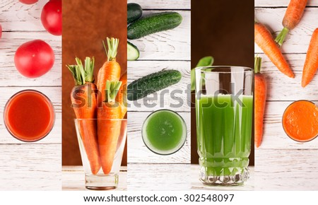 Food collage from photos of different vegetables and juices - stock photo
