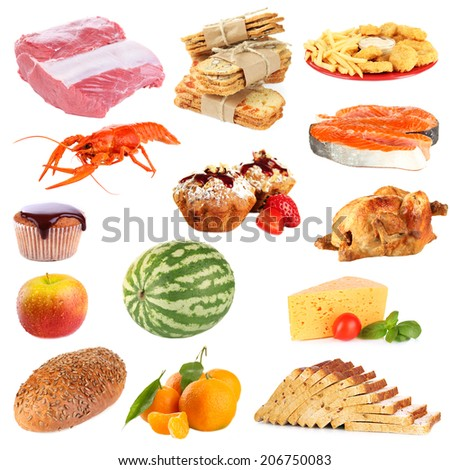 Food collage isolated on white - stock photo