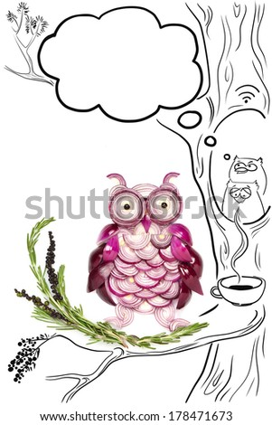Food concept of funny owls made of onions and a drawing of coffee and wi-fi spot. - stock photo