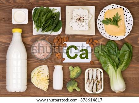 Food containing calcium - stock photo