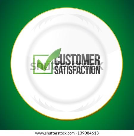 food customer satisfaction guaranty illustration design over white - stock photo