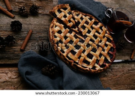 Food. Delicious blueberry pie on the table - stock photo