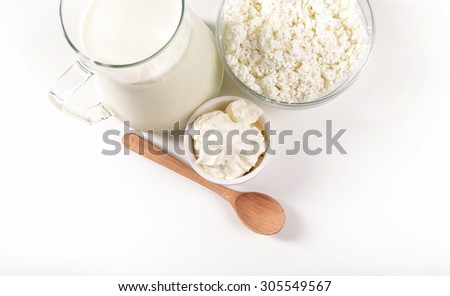 Food. Delicious milk products on the table - stock photo
