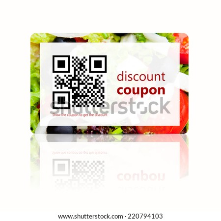 food discount coupon with qr code isolated over white background - stock photo
