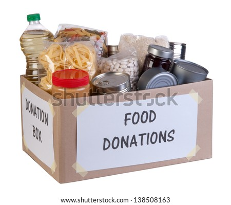Food donations box isolated on white background - stock photo