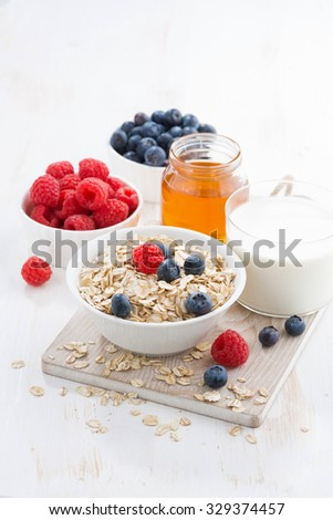 Food for a healthy breakfast, vertical, close-up - stock photo