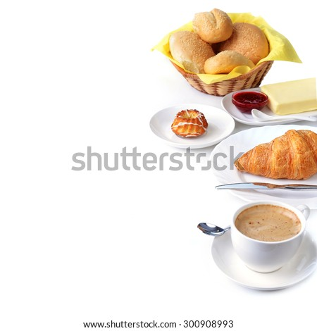 food for breakfast.coffee, buns, butter and jam - stock photo