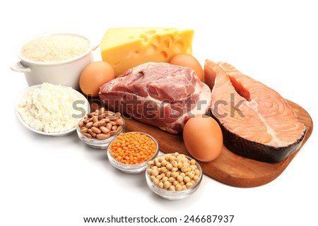 Food high in protein isolated on white - stock photo