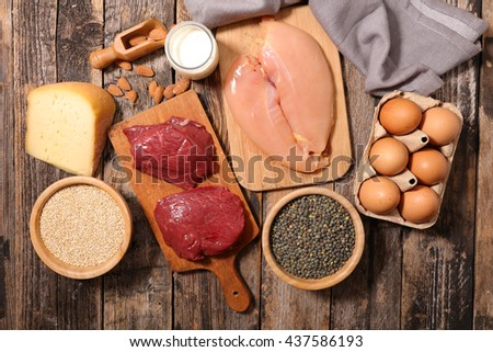 food high in protein,protein sources - stock photo