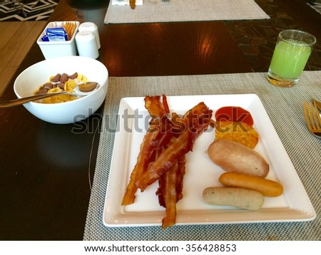 Food I eat every day in the morning. - stock photo
