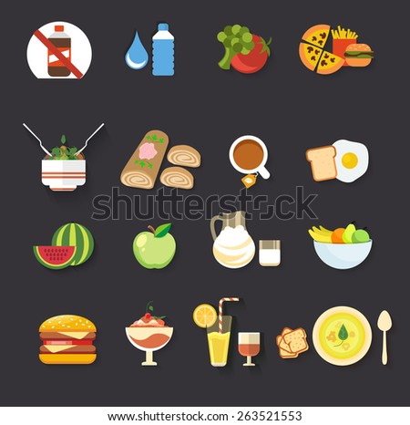 Food icons collection for restaurant menu isolated on black background. Raster version - stock photo